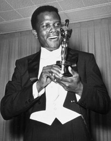 Sidney Poitier with his best actor Oscar in 1963