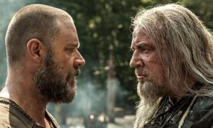 Noah: Tubal-Cain (Ray Winstone, right) confronts Noah (Russell Crowe)