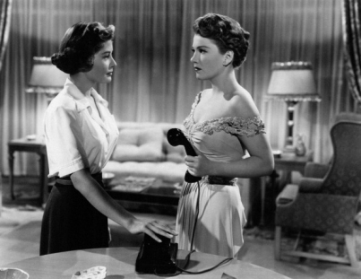 Anne Baxter and Barbara Bates in a scene from the movie 'All about Eve'