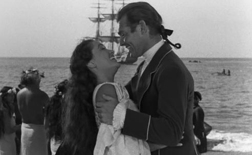 mutany-on-the-bounty-1935-movie-review-fletcher-christian-tahiti-clark-gable-kissing